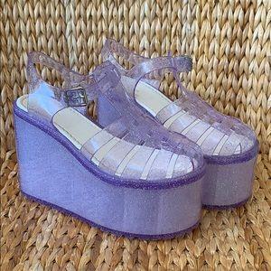 EUC 💜 UNIF 💜 Lilac Glitter Jelly Platforms 8M